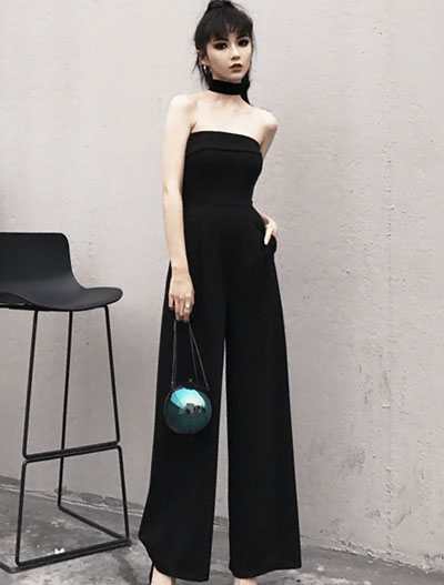 Wide-leg cotton blend jumpsuit